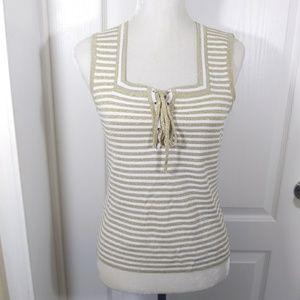 Gold & White Stripe Sleeveless Top